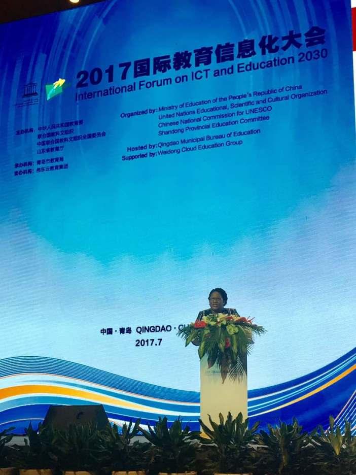 Ms. Jennifer Britton Deputy Programme Manager,  ICT for Development (ICT4D) addresses the conference