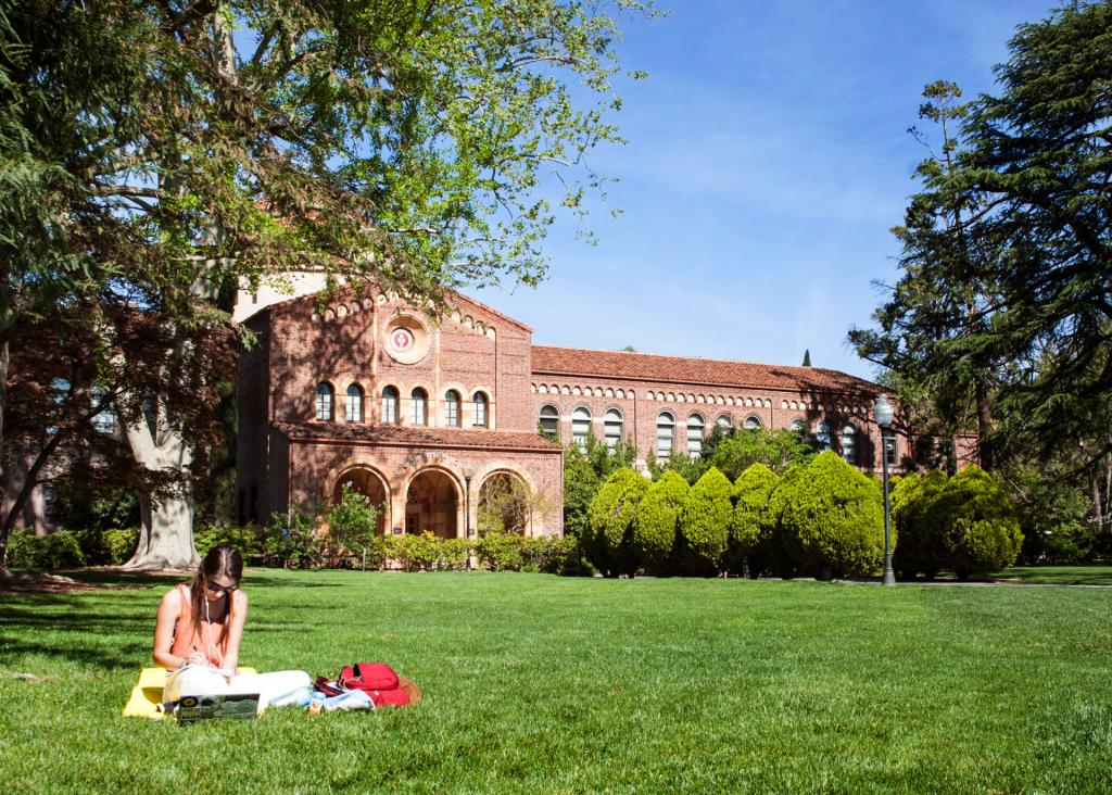 Meghan Harrigan, sophomore, studying on the lawn in front of Kendall Hall on March 25th, 2015 in Chico, Calif. (Cory Hackbarth/Student Photographer)