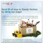 Imagine Toys - Sandy promotion - Toddling Around Chicagoland