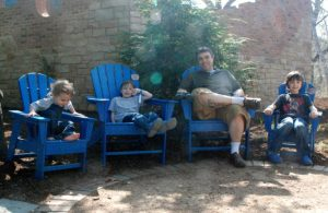 Bookworm Garden #Sheboygan - my guys in blue chairs