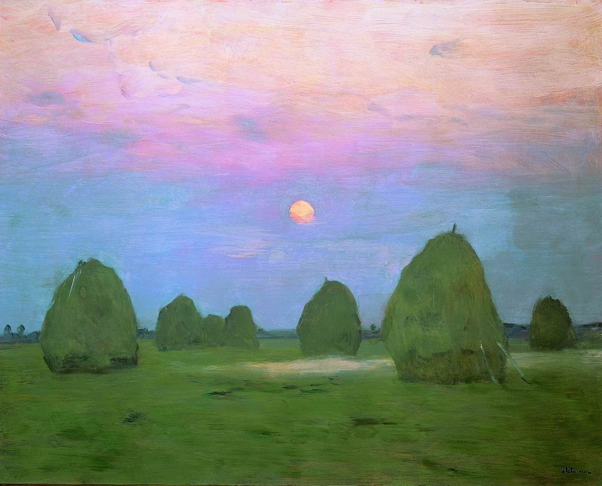 Isaak Levitan - Twilight. Field stacks