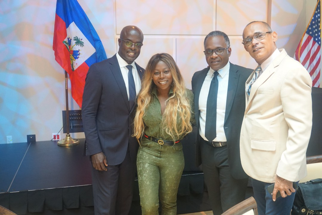 Left Gandy Thomas Consulate of Haiti, Tohni Jean-Bellis, TohniStyle, Far Right Gilbert Hippolyx