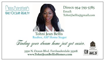 Tohni Jean Bellis Homes Business Card BACK