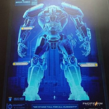 This blueprint for the bulky Bracer Phoenix Mark V Jaeger was on display at Japan Expo 2017.