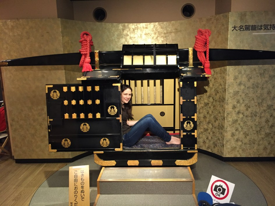 Testing out the Palanquin at Okayama Castle