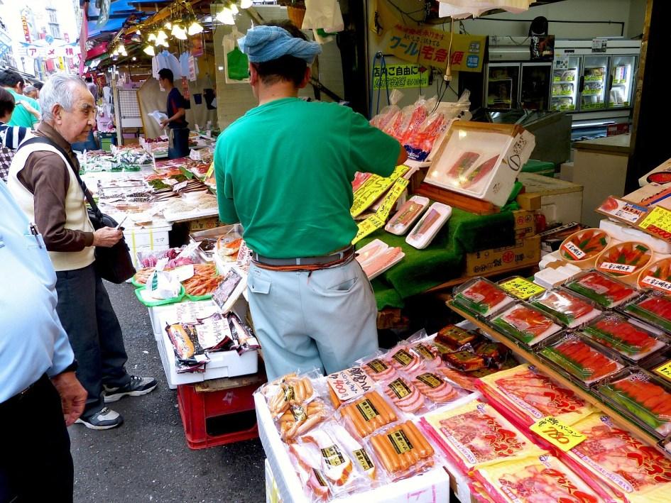 On the lively streets of Ameyokocho, Ueno, Tokyo