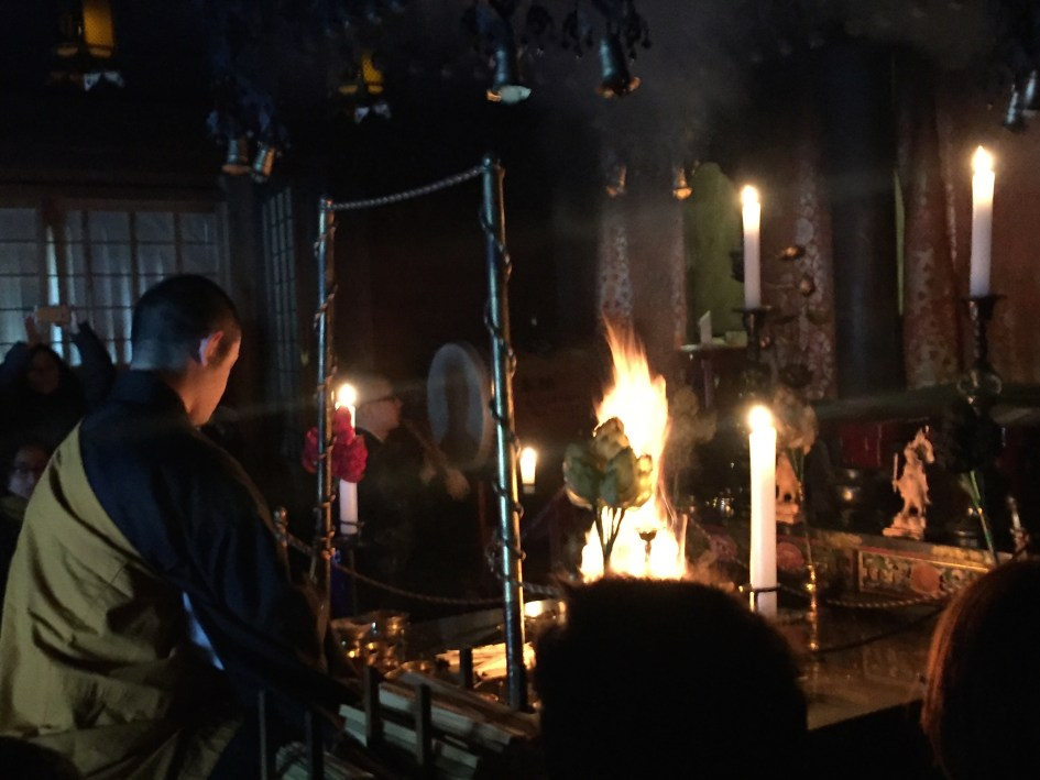 The morning fire ceremony at Ekoin Temple
