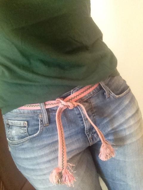 pink and green obijime belt