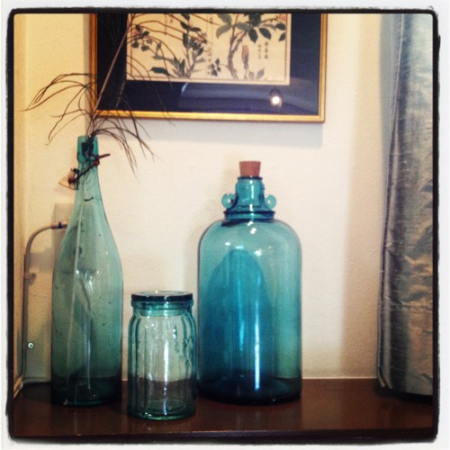 blue green sake bottle for lamp