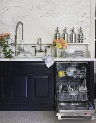 blue cabinets white marble