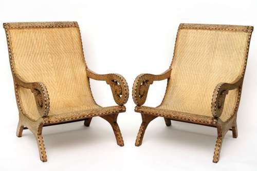 Bone Inlay anglo-Indian 19thc planters chairs