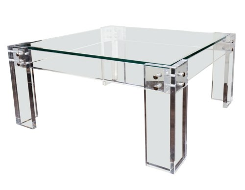 1970s Modernist Lucite and Glass Cocktail table 1st dibs