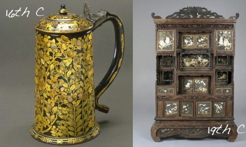 17th-century-mother-of-pearl-on-wood-lacquer-japan-tankard japanese-meji-period-shibiyama-shodona-cabinet