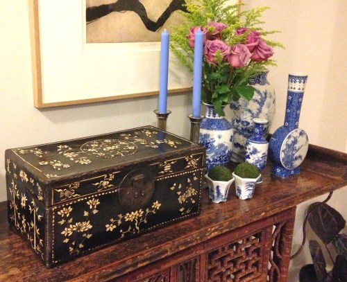 Ming Chinese lacquer box inlay ivory shark skin