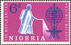 Nigerian stamp commemorating the battle with malaria