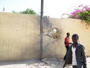 The Niamey Presidential Palace, late afternoon rocket damage