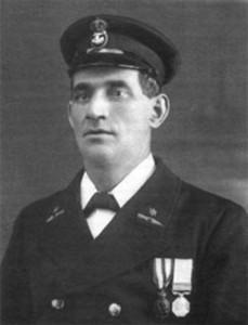 Tom Crean wearing his Albert Medal.