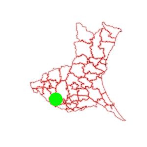 Fig. 4. Green circle (140°E, 36°N) on Ibaraki map