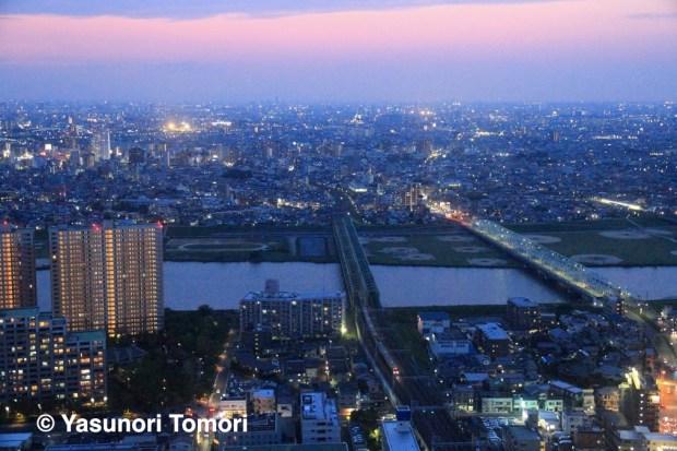 夕暮れの首都圏を江戸川を越えて走り抜けるJR東日本総武線車輌。