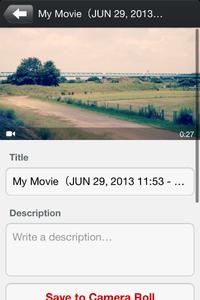 「RoadMovies」タイトルと説明の入力画面