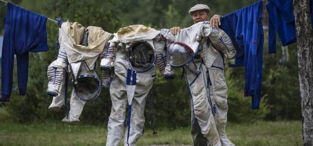 Russian spacesuits hang to dry.