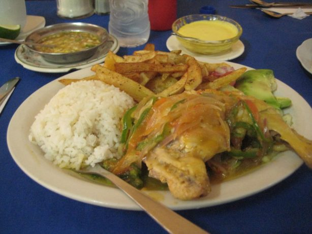 Picture of Arroz y Pollo con Papas Fritas (Rice and Chicken with hand cut potatoes)