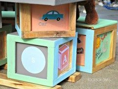 Featured at Remodelaholic.com. Build an Alphabet Block a Chalkboard Table with Block Stool Storage Seats