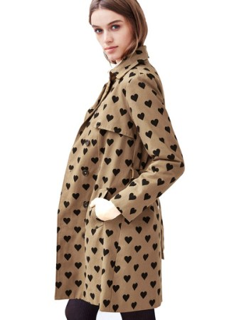 heart print trench coat