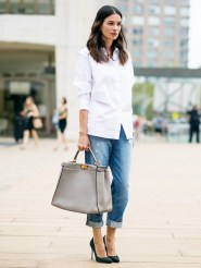 button down shirt and cuffed jeans