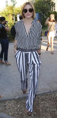 **USA ONLY** Paris, France - Socialite Olivia Palermo shows her stripes as she arrives at the Giambattista Valli Fashion Show during Paris Haute Couture Week. AKM-GSI July 6, 2015 **USA ONLY** To License These Photos, Please Contact : Steve Ginsburg (310) 505-8447 (323) 423-9397 steve@akmgsi.com sales@akmgsi.com or Maria Buda (917) 242-1505 mbuda@akmgsi.com ginsburgspalyinc@gmail.com