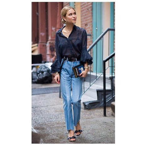 ruffle- sleeved blouse, straight leg high waisted jeans