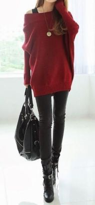 street-style-red-off-the-shoulder-knit