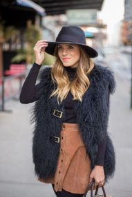 fluffy vest with suede buttoned skirt