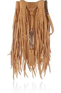 saint laurent monogramme brourse mini fringed leather bucket bag