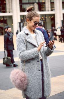 pom pom bag, wool coat