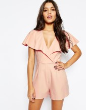 occasion ruffle wrap playsuit