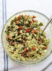 pasta sald with tomatoes, corn and jalapeno pesto