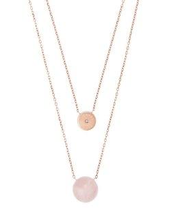 rose quartz double chain necklace