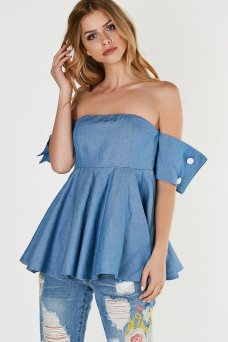 off shoulder top with chambray exterior