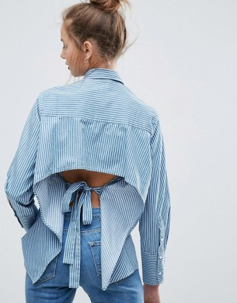 asos denim stripe shirt