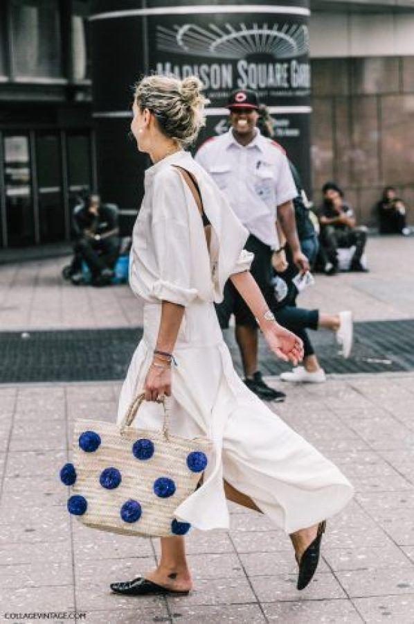 polka type straw bag