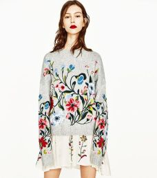 zara floral embroidery sweater