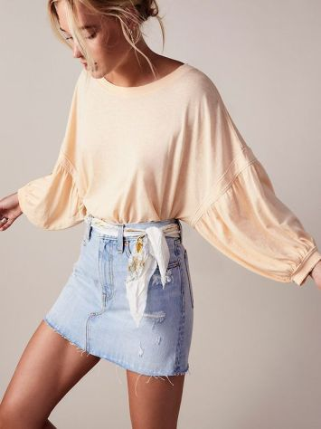 denim skirt with puffed sleeves