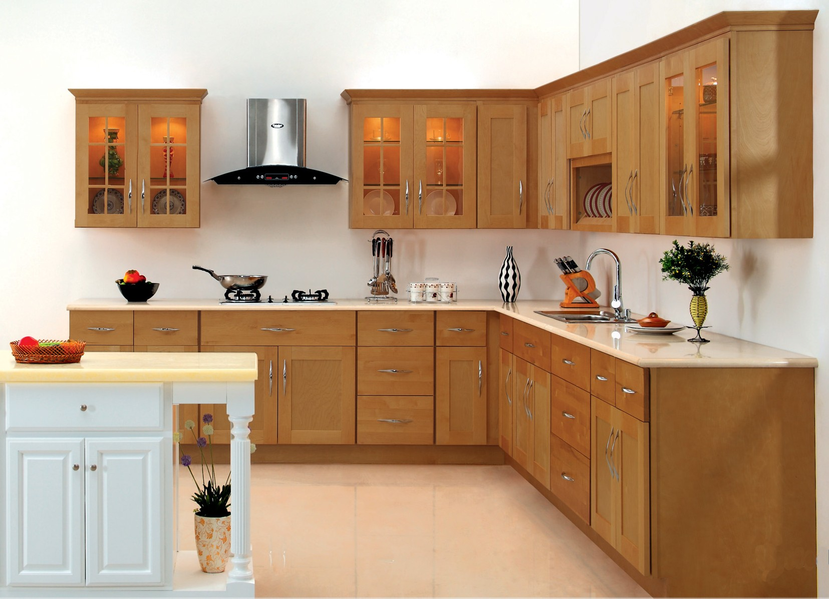 Thomasville Kitchen Cabinets Light Brown Wooden Detail Design Medium Wood Cherry Color Island Luxury With Ceramic White Color and White Walls Give the Impression Light