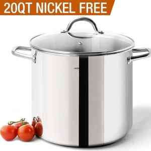 HOMi CHEf Commercial Grade Stainless Steel Stock Pot 20 Quart With LidNickel Freee Stainless Steel Non Toxic Cookware Stockpot 20 QuartLarge Heavy Duty Stock Pots For Cooking