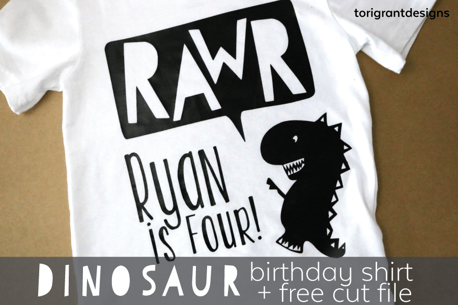 Rawr! Dinosaur Birthday Shirt using Heat Transfer Vinyl + Free Cut File + Giveaway!