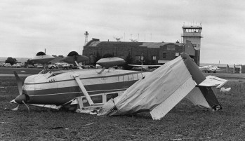 A number of small planes were crumpled as the tornado hit Philip Billard Airport, 3600 N.E. Sardou Ave., before dissipating across the river.