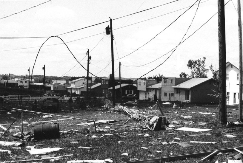 Several homes were damaged and power lines downed during a tornado that swept through the Manhattan and Fort Riley area on June 8, 1966, the same day a twister hit Topeka.