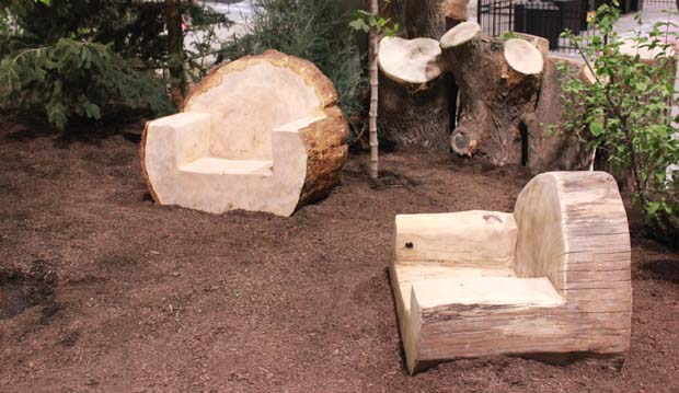 wooden log chairs