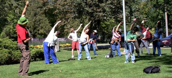 A variety of different stretches help to slow down the walker's heartbeats.